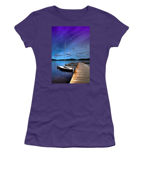 Docked On Fourth Lake Women's T-Shirt (Junior Cut) by David Patterson