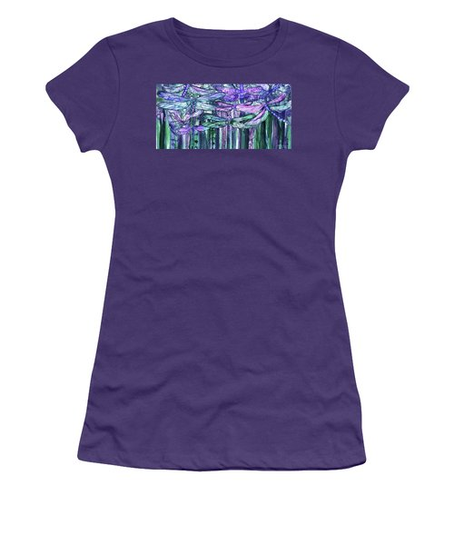 Women's T-Shirt (Athletic Fit) featuring the mixed media Dragonfly Bloomies 4 - Lavender Teal by Carol Cavalaris