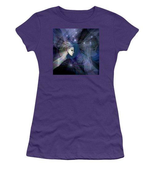 Women's T-Shirt (Junior Cut) featuring the digital art 1101 - Dream Voyage - 2017 by Irmgard Schoendorf Welch