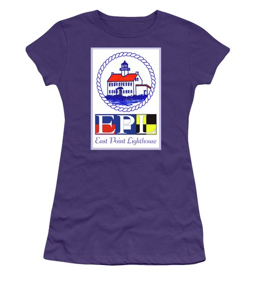 Women's T-Shirt (Junior Cut) featuring the digital art East Point Lighthouse Poster - 2 by Nancy Patterson