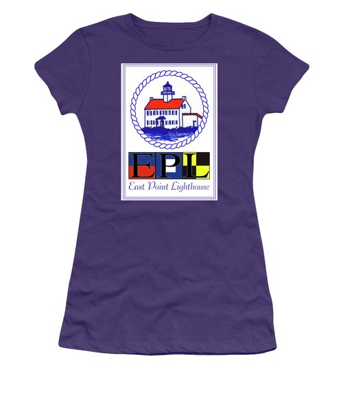 Women's T-Shirt (Junior Cut) featuring the digital art East Point Lighthouse Poster by Nancy Patterson