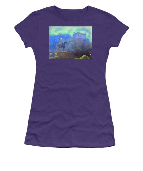 Edinburgh Castle Horse Statue Women's T-Shirt (Junior Cut) by Richard James Digance