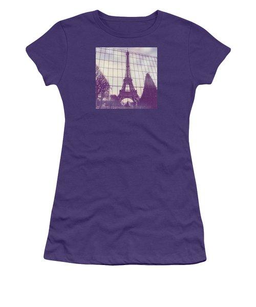 Eiffel Tower Through Fence Women's T-Shirt (Junior Cut) by Aurella FollowMyFrench