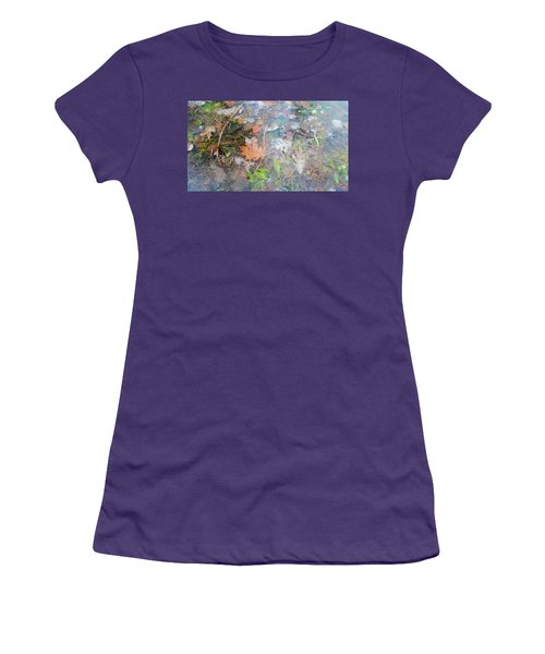 Fall Leaves In A Frozen Puddle Women's T-Shirt (Athletic Fit)