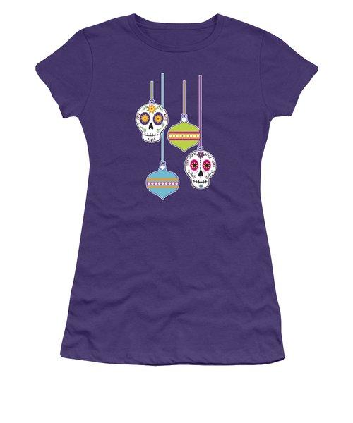 Women's T-Shirt (Junior Cut) featuring the digital art Feliz Navidad Holiday Sugar Skulls by Tammy Wetzel