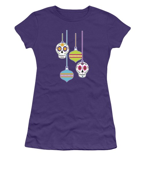 Feliz Navidad Holiday Sugar Skulls Women's T-Shirt (Athletic Fit)