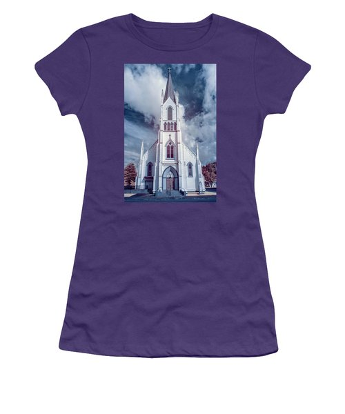 Ferndale Church In Infrared Women's T-Shirt (Junior Cut) by Greg Nyquist