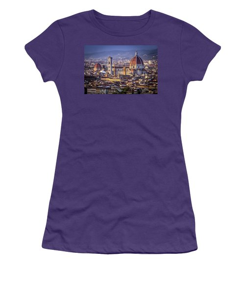 Women's T-Shirt (Junior Cut) featuring the photograph Firenze E Il Duomo by Sonny Marcyan