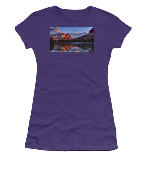 Women's T-Shirt (Junior Cut) featuring the photograph Fisher Towers Sunset Glow Panorama by Adam Jewell