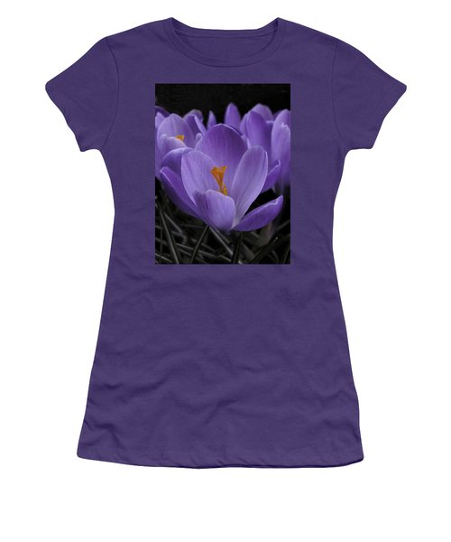 Flower Crocus Women's T-Shirt (Junior Cut) by Nancy Griswold
