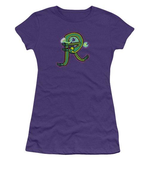 Frog Letter R Blue Women's T-Shirt (Athletic Fit)