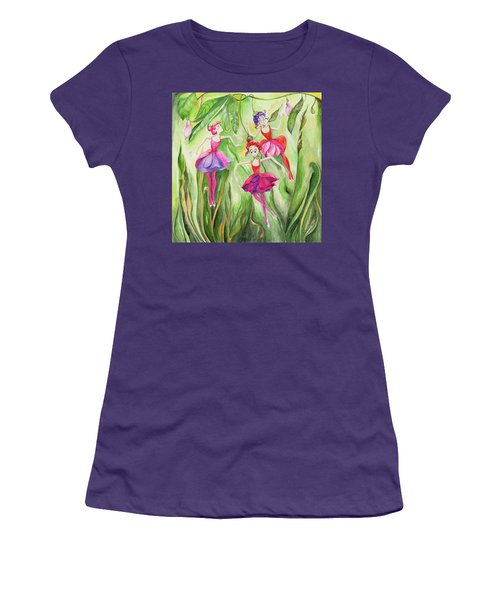 Women's T-Shirt (Junior Cut) featuring the painting Fuschia On Discovering The Truth by Nadine Dennis