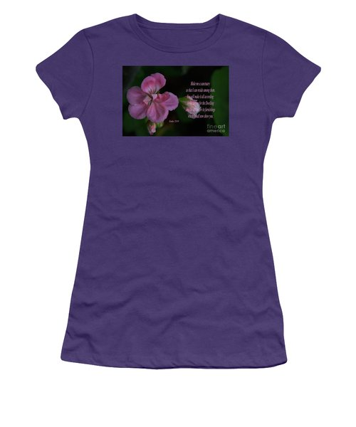 Geranium After The Rain Scripture Women's T-Shirt (Junior Cut) by Debby Pueschel