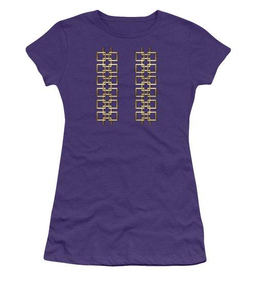 Women's T-Shirt (Junior Cut) featuring the digital art Gold Geo 5 - Chuck Staley Design by Chuck Staley