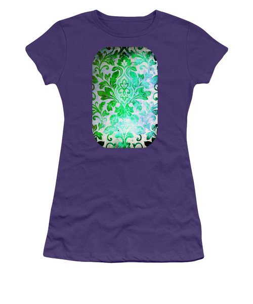Green Damask Pattern Women's T-Shirt (Athletic Fit)