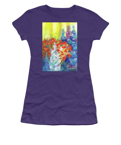 Women's T-Shirt (Junior Cut) featuring the painting Hanging With The Delphiniums  by Frances Marino