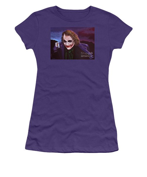 Heath Ledger As The Joker Painting Women's T-Shirt (Athletic Fit)