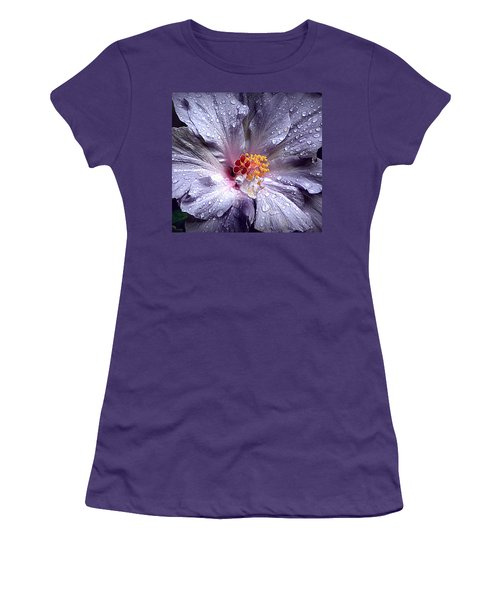Hibiscus In The Rain Women's T-Shirt (Junior Cut) by Lori Seaman