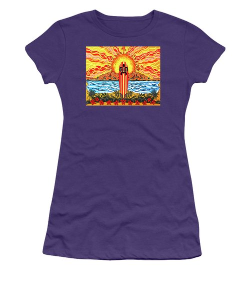 Women's T-Shirt (Junior Cut) featuring the painting Honu Surf by Debbie Chamberlin