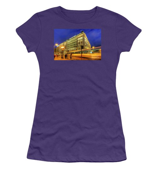 Women's T-Shirt (Junior Cut) featuring the photograph Hotel Grande Bretagne - Athens by Yhun Suarez
