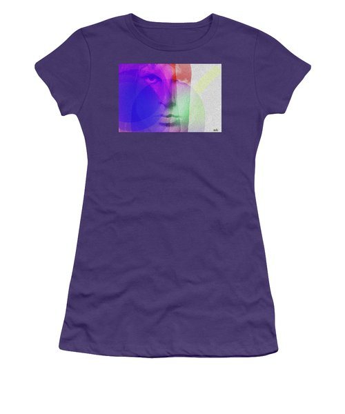 Jim Morrison Blue And Red  Women's T-Shirt (Athletic Fit)