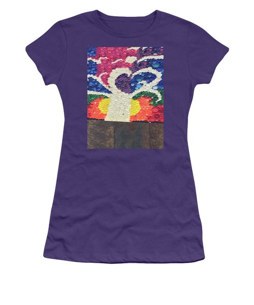 Women's T-Shirt (Athletic Fit) featuring the painting Kids Art Project Tree Made Of Bottle Plastic Caps Christmas Holidays Festivals Birthday Mom Dad Son by Navin Joshi