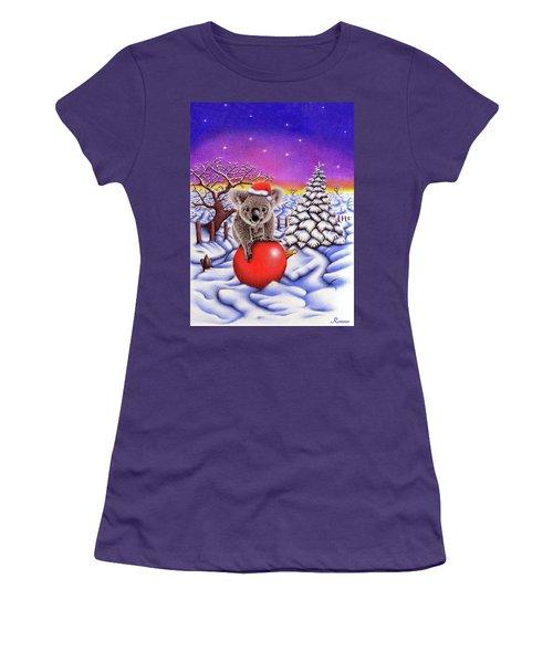 Koala On Christmas Ball Women's T-Shirt (Athletic Fit)