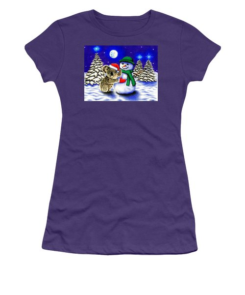 Koala With Snowman Women's T-Shirt (Athletic Fit)