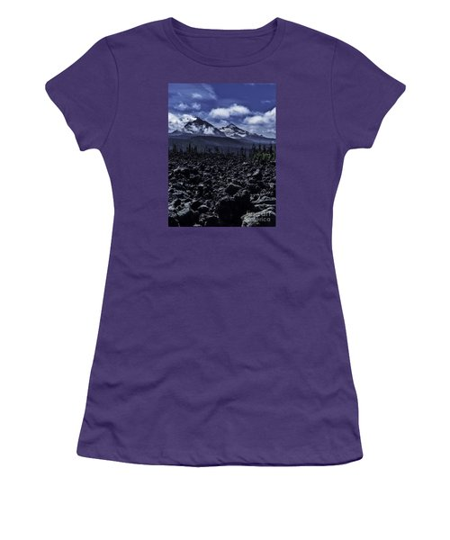 Women's T-Shirt (Junior Cut) featuring the photograph Lava Below The Sisters by Nancy Marie Ricketts