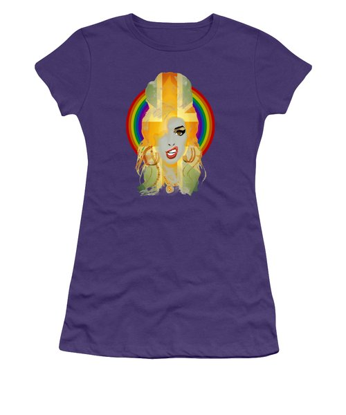Lioness - Fierce Rainbow - Amy Winehouse Portrait Women's T-Shirt (Junior Cut) by Big Fat Arts