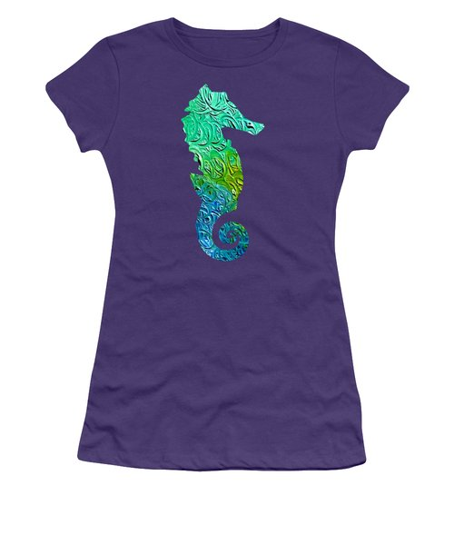 Lively Seahorse Women's T-Shirt (Athletic Fit)