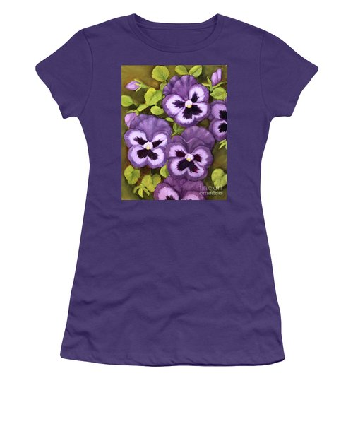 Women's T-Shirt (Junior Cut) featuring the painting Lovely Purple Pansy Faces by Inese Poga