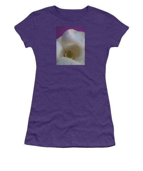 Magnolia Macro Against Purple Women's T-Shirt (Athletic Fit)