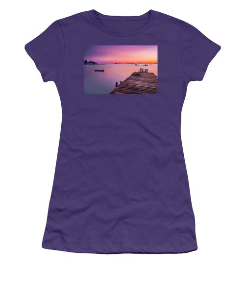 Women's T-Shirt (Junior Cut) featuring the photograph Maine Cooks Corner Lobster Shack At Sunset by Ranjay Mitra