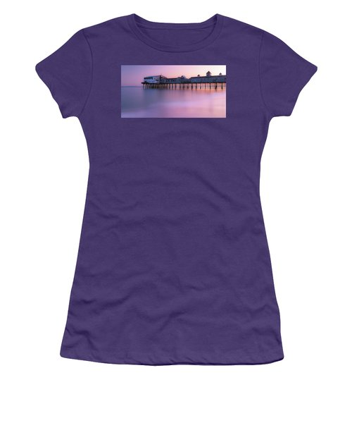 Maine Oob Pier At Sunset Panorama Women's T-Shirt (Junior Cut) by Ranjay Mitra