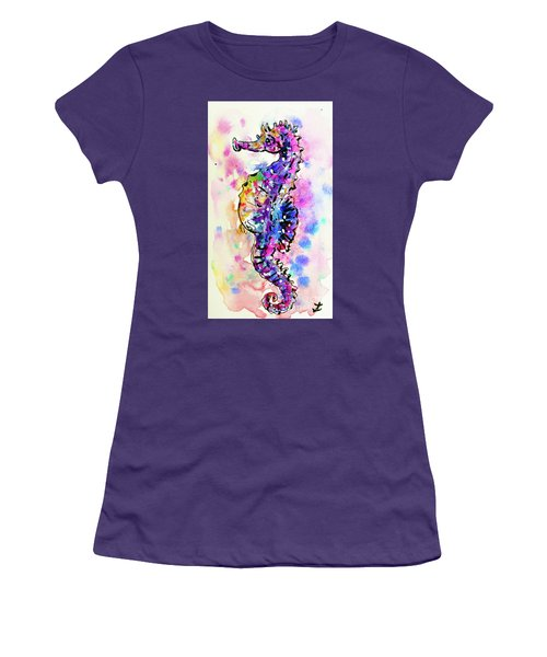 Women's T-Shirt (Athletic Fit) featuring the painting Merry Seahorse by Zaira Dzhaubaeva