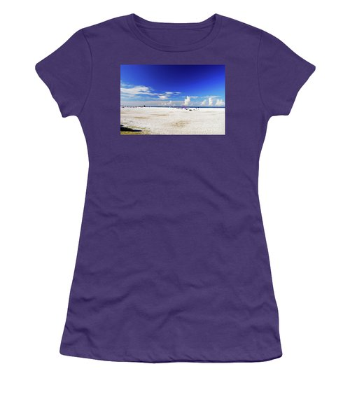 Women's T-Shirt (Athletic Fit) featuring the photograph Miles And Miles Of White Sand by Gary Wonning