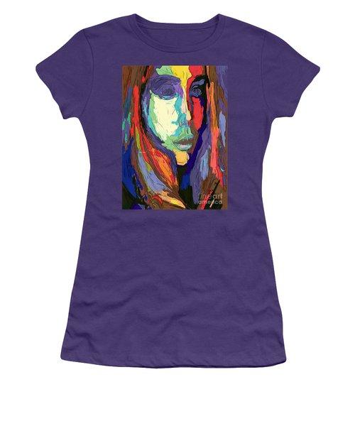 Women's T-Shirt (Athletic Fit) featuring the digital art Modern Impressionist Female Portrait by Rafael Salazar