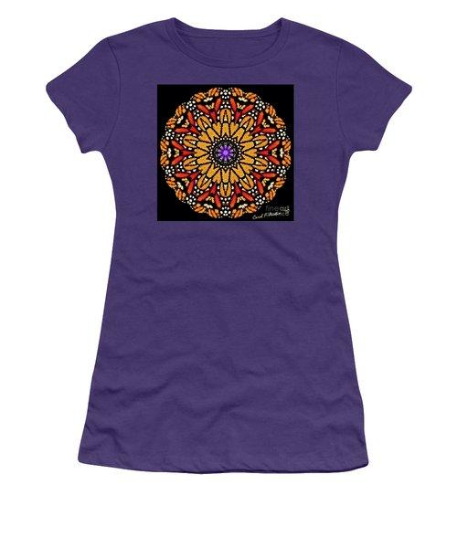 Monarch Butterfly Wings Kaleidoscope Women's T-Shirt (Junior Cut) by Carol F Austin