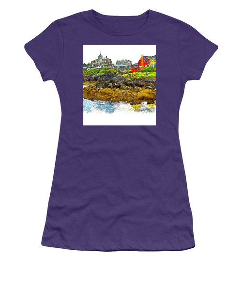 Women's T-Shirt (Junior Cut) featuring the photograph Monhegan West Shore by Tom Cameron