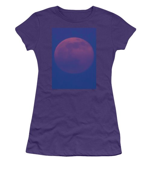 Women's T-Shirt (Junior Cut) featuring the photograph Moon Rise Blue by Michael Nowotny