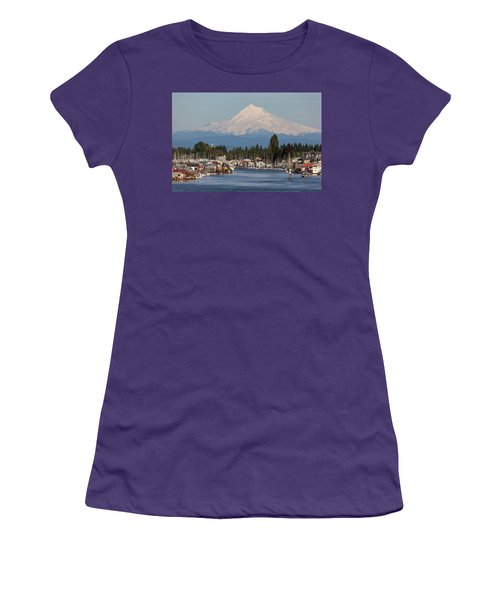 Mount Hood And Columbia River House Boats Women's T-Shirt (Athletic Fit)