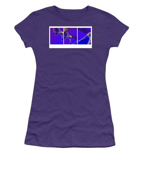 Women's T-Shirt (Junior Cut) featuring the digital art Movement In Blue by Steve Karol