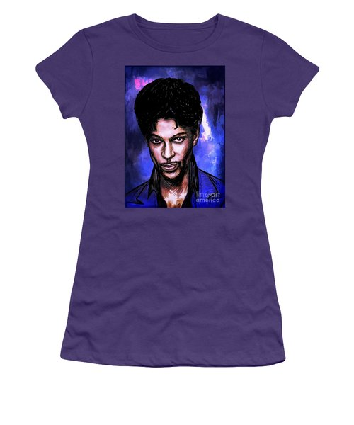 Women's T-Shirt (Junior Cut) featuring the painting Music Legend  Prince by Andrzej Szczerski
