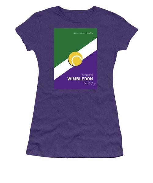 Women's T-Shirt (Junior Cut) featuring the digital art My Grand Slam 03 Wimbeldon Open 2017 Minimal Poster by Chungkong Art