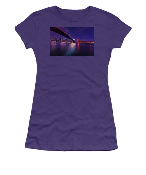Women's T-Shirt (Athletic Fit) featuring the digital art New York City Brooklyn Bridge by PixBreak Art