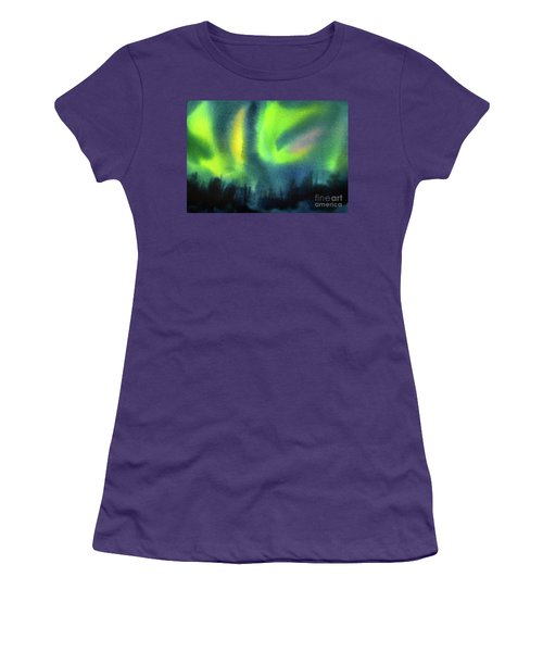Women's T-Shirt (Junior Cut) featuring the painting Northern Lights 3 by Kathy Braud