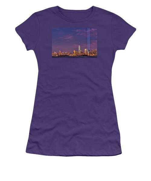 Women's T-Shirt (Athletic Fit) featuring the photograph Nyc  Landmarks Wtc Tribute In Light by Susan Candelario