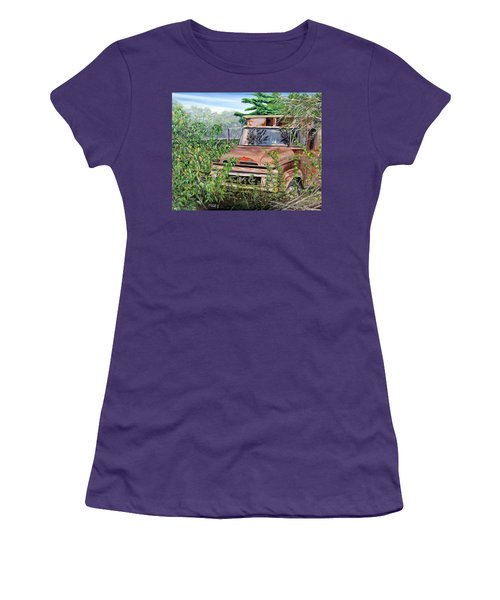 Women's T-Shirt (Junior Cut) featuring the painting Old Truck Rusting by Marilyn  McNish