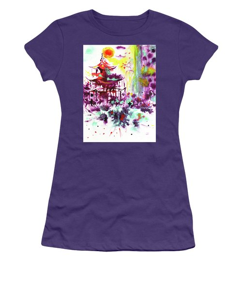 Women's T-Shirt (Athletic Fit) featuring the painting Pagoda by Zaira Dzhaubaeva